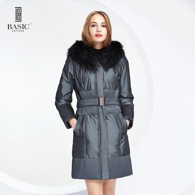 BASIC EDITIONS 2015 зима модный пуховик средней длины с капюшоном с настоящим мехом енота с поясом