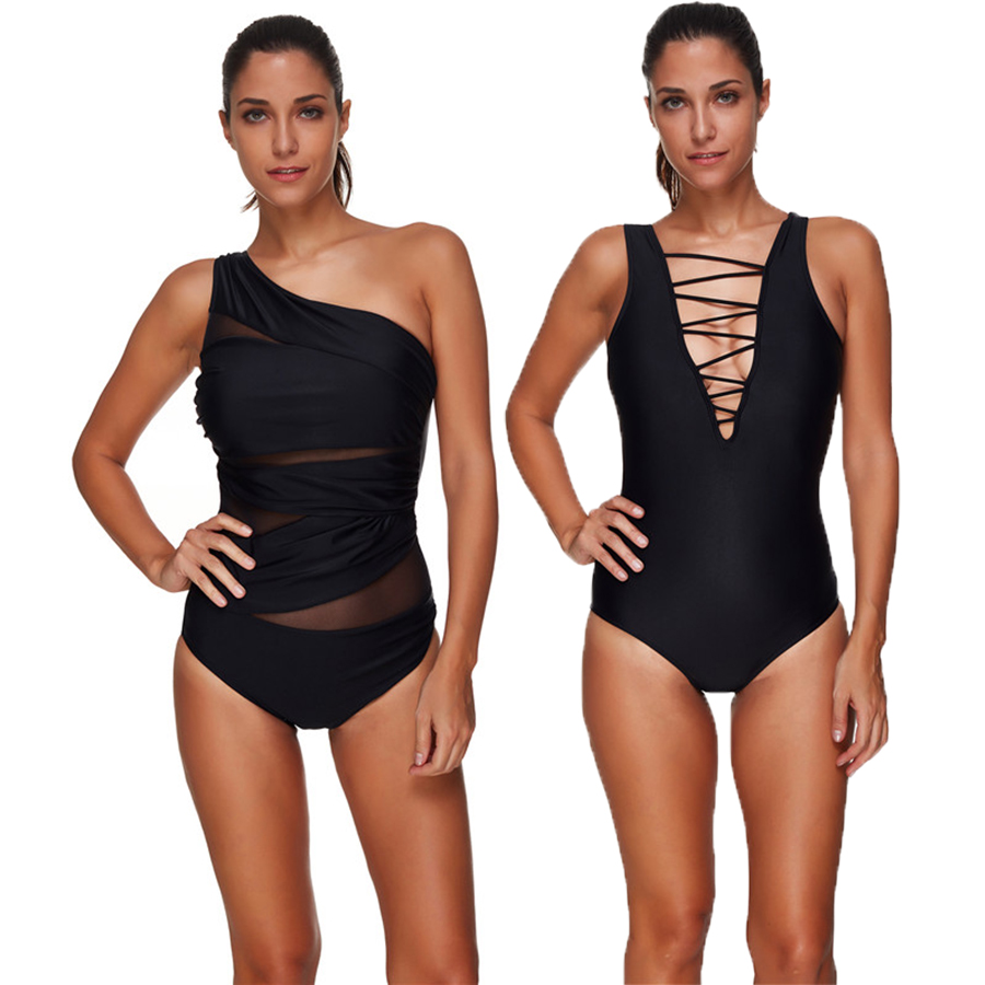 lyric Black One Piece Swimsuit Women Momokini Plus Size Swimwear America Sexy Padded Momokini Summer Bathing Suit Beach Wear