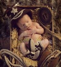 2015 New Baby Crochet Knit Jazz cap and Shoes Set Newborn Photography Props Gentleman 2pcs/set