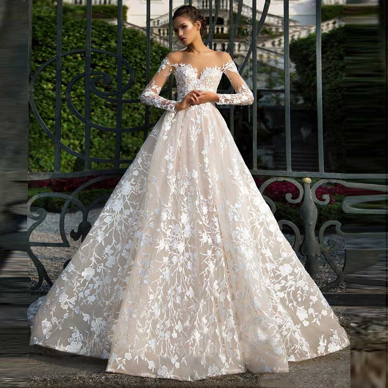 Illusion Neckline Wedding Dresses Long Sleeves Lace Tulle Backless High Quality Bridal Gown Vestido De Noiva