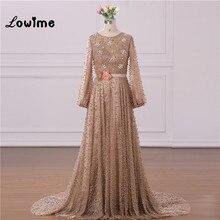 Muzułmańskie kolacja oficjalna sukienka eleganckie długie rękawy frezowanie ślubne sukienka na imprezę z kwiatem pas Vestido Longo 2018 wykonane na zamówienie