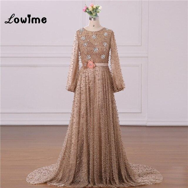 Vestido de noche Formal musulmán elegante mangas largas con abalorios Vestido de fiesta de boda con cinturón de flores Vestido Longo 2018 hecho a medida