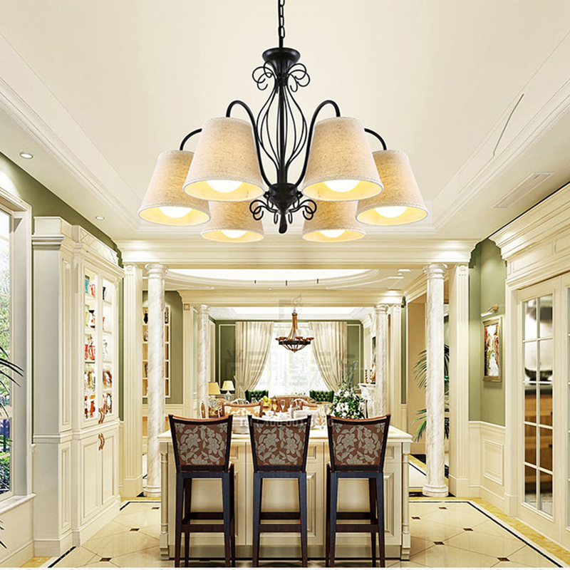 Светодиодные фонари для дома блеск белой ткани абажур люстра Утюг современные люстры американский стиль внутреннего освещения приспособл...