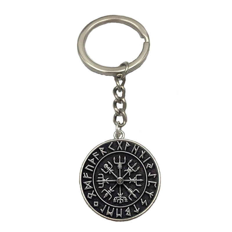 Fashion Glass Dome Viking Keychain SYMBOL OF NORSE RUNIC NORSE Runes Vegvisir Pendant Key Chain Keyring Holder Compass Jewelry