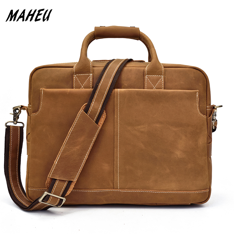 Solid Classical Crazy Horse Leather Men Briefcases Work Tote Cowhide Shoulder Bag for 15 Laptop Male Office Business BagSolid Classical Crazy Horse Leather Men Briefcases Work Tote Cowhide Shoulder Bag for 15 Laptop Male Office Business Bag