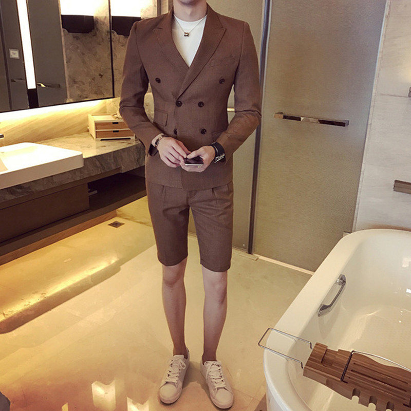 Summer Khaki Men Suit With Short Pants 2018 Double Breasted Slim Fit Blue Male Blazer Party Wear Black Men Wedding Suit Tuxedo
