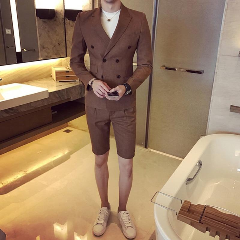 Summer Khaki Men Suit With Short Pants 2018 Double Breasted Slim Fit Blue Male Blazer Party Wear Black Men Wedding Suit Tuxedo