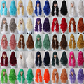 2016 New Hot Lady's Fashionable 29 Color 80cm Long Wave Harajuku Anime Cosplay Wigs Synthetic Hair Wig Costume Party Wigs