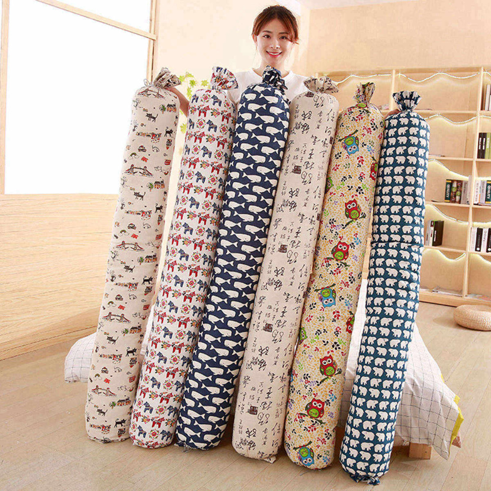 160cm Cartoon Long Pillow Cushion Flax Bed Backrest Tatami Cushion Sofa Bedside Sofa Bedside Pillow Waist