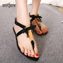 BYQDY Lady Flat Flip Flops Sandals Ankle Strap Thong Flat Sandals Buckle Beach Shoes Woman Sandals Flat Summer 2019 Size 35-40 ankle strap pu flat sandals