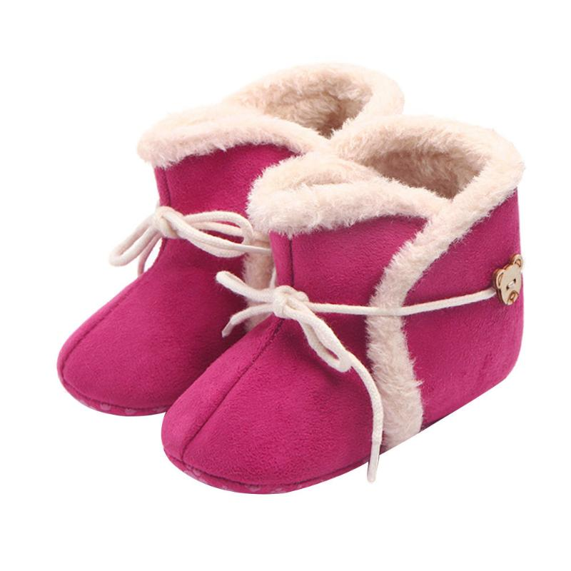 Baby Boots Girls Fashion Winter Baby Non-slip Shoes First Walkers Newborn Warm Soft Bottom Shoes for 0-18 Months Infants