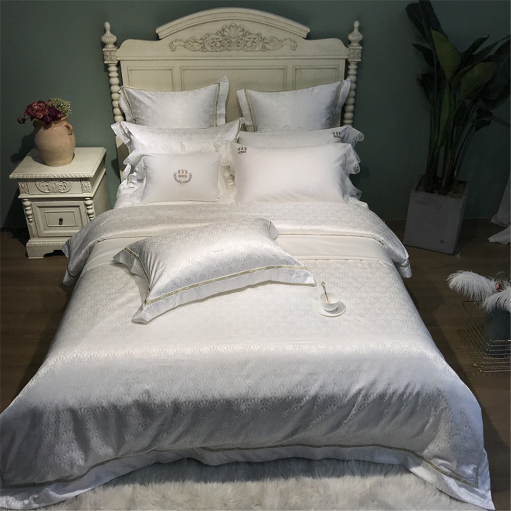 4 6pc 80S Pima Cotton bed linens silky touch smooth luxury jacquard bedding set white color