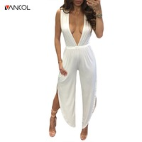 Vancol 2017 Backless O Neck Halter Long Jumpsuit Romper Women Sexy Loose Silk Hollow Out High