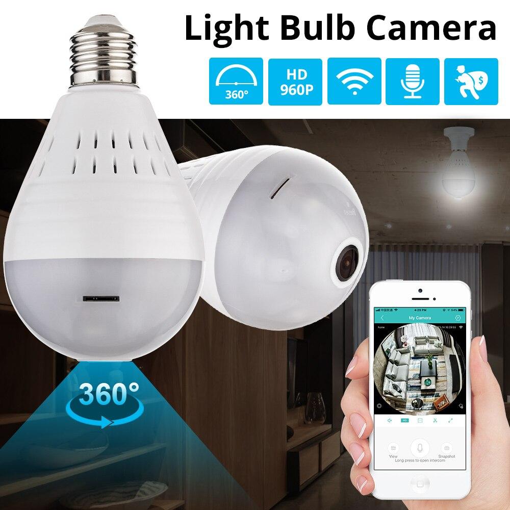 KERUI LED 960 P inalámbrica panorámica WiFi seguridad para el hogar CCTV Fisheye bombilla cámara IP 360 grados seguridad antirrobo
