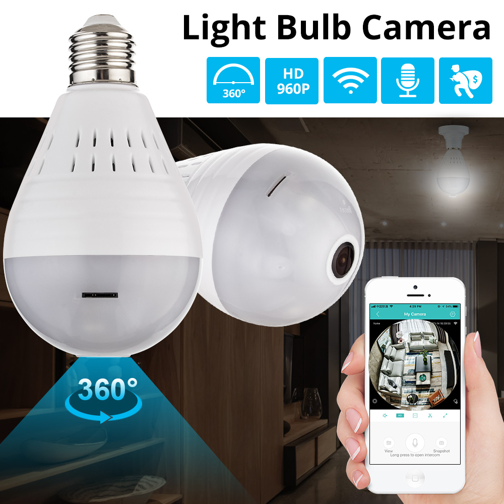 KERUI LED Light 960P Wireless Panoramic Home Security WiFi CCTV Fisheye Bulb Lamp IP Camera 360 Degree ONVIF Night Vision