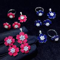 Набор ювелирных изделий из стерлингового серебра 925 пробы с кубическим цирконием серьги в виде цветка кольцо и кулон синий розовый красный