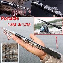 Mini Portabke Pocket Sea Finishing Rods Telescopic Super Hard High Carbon Content Fishing Rod Light 1.5-1.7 M Pole