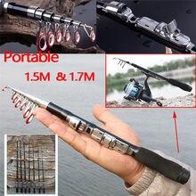Mini Bolso Portabke Mar Varas Telescópicas de Acabamento Duro Super Alto Teor De Carbono Vara De Pesca Luz Pesca 1.5-1.7 M pólo
