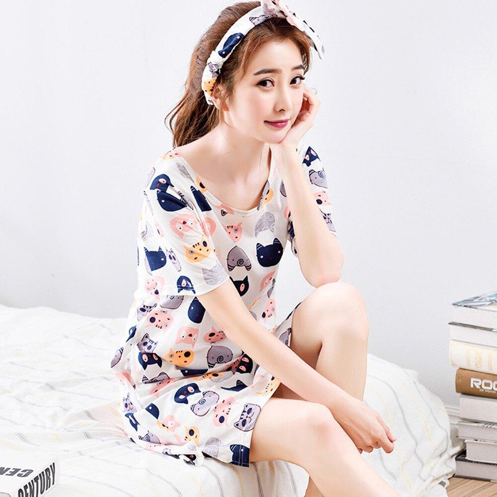 With Headband Short-sleeved Nightdress Summer 100% Cotton Nightgown ...