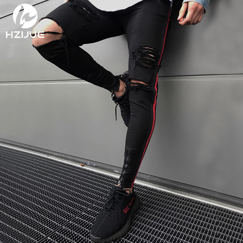 HZIJUE men HIP HOP skinny motorcycle denim pants zipper designer black   jeans   mens pantalones vaqueros hombre casual   jeans   men