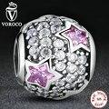 Siga As Estrelas, rosa & clear cz charme fit pandora original pulseira colar de presente de natal 925 sterling silver beads ps139