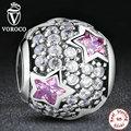 Siga Las Estrellas, pink & clear cz regalo de navidad charm fit pandora original pulsera collar de 925 cuentas de plata esterlina ps139