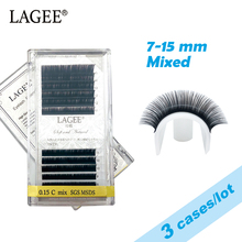 Get more info on the LAGEE 3Cases/Lot 7-15 mm mixed Soft Natural Individual Eyelash Extension Black Fake False Mink Lashes Makeup Cilios