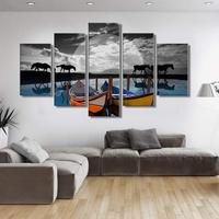 Canvas Pictures Home Decor 1 Piece Walking Horse Sunset Scenery Painting Prints Ship Poster Living Room Wall Art Home Decoration