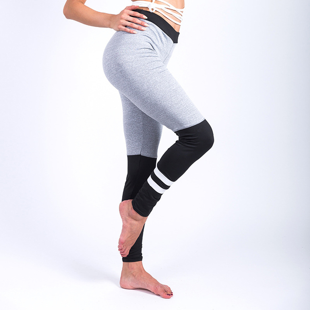 ad4a3a758 Women Sock Stripes Patchwork Leggings Sport Fitness Gym Yoga Pant Clothes  Sportswear Tracksuit Trousers Running Tights High Size