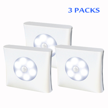 6 LED PIR Body Motion Sensor Activated Wall Light Night Induction Lamp Closet Corridor Cabinet led Sensor Light battery(3PACKS) motion sensor light smart human body induction nightlight mini led night light battery powered closet cabinet toilet lamps light