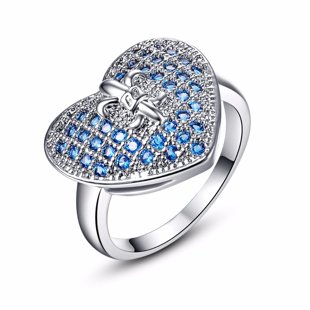 high quality heart silver ring blue aaa cubic zirconia wedding ring sets fashion engagement ring jewelry - Blue Wedding Ring Set