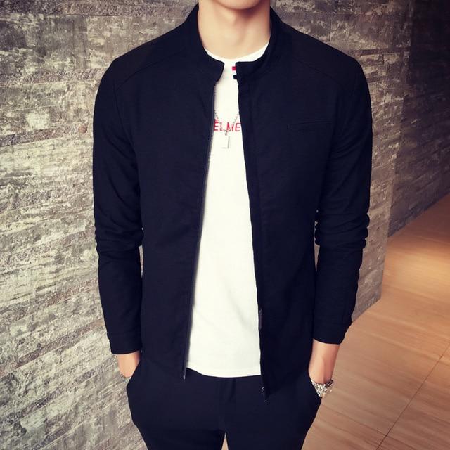 Men 's Jacket 2017 Fall new Cotton stand-up collar slim jacket Ribbon splicing coat men Simple fashion casual jacket black navy