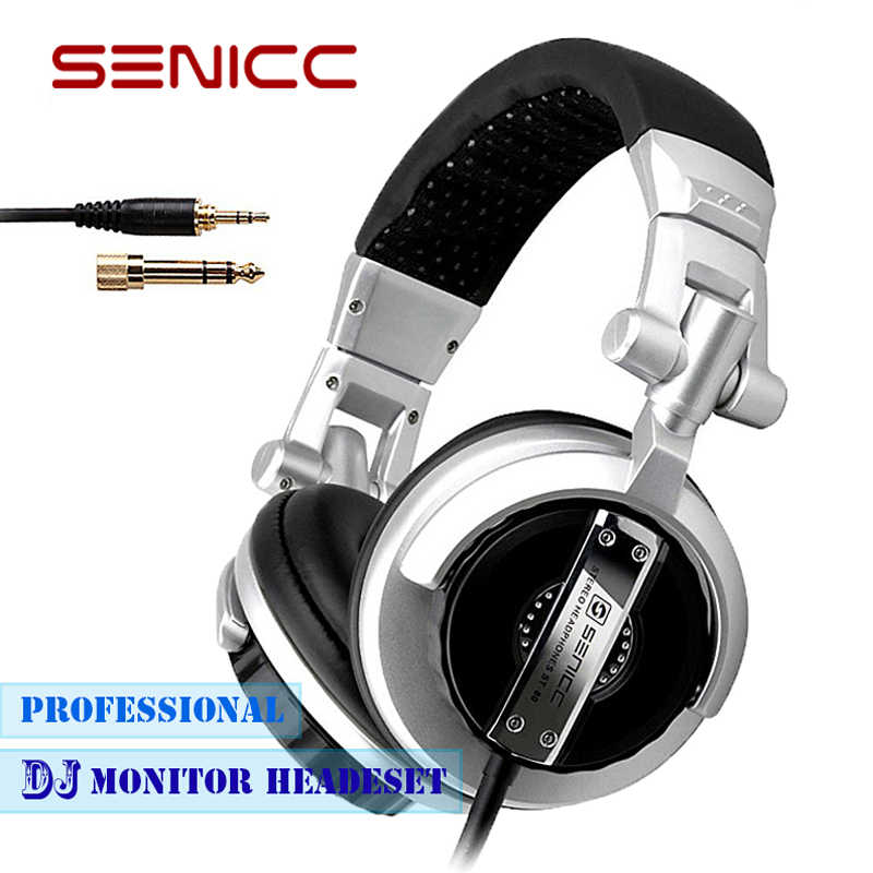 76c8aabcd75 SENICC ST-80 Professional Stereo DJ Studio Headphones Portable Monitor  Headset with 3.5mm 6.3