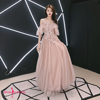 Beauty Emily 2019 Hanging V Neck Evening Dresses Pink Floral Lace Appliques Ruffles Tulle Open Back Ribbons Sexy Party Dresses