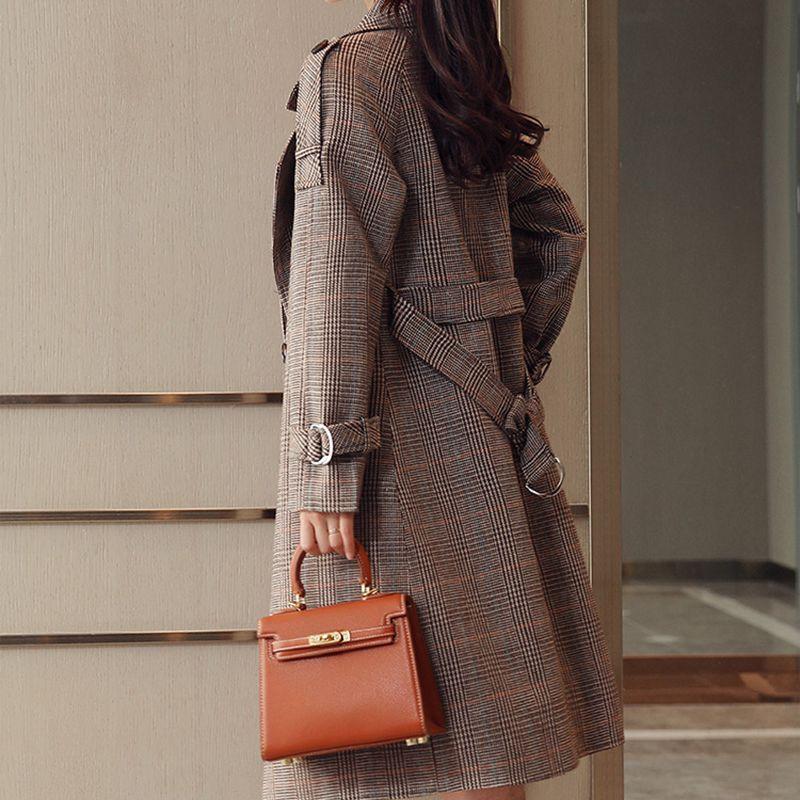 Nzyd964 Moyen Grande Offce vent Auutmn gray Nouvelle Taille Manteau Mince Survêtement Femmes Fashion Plaid Femme Coupe Style long Tranchée Printemps 2018 iXZuTkPO