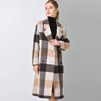 2018 Новый Осень Популярные плед пальто женщина шерсть тонкие длинные пальто без пояса