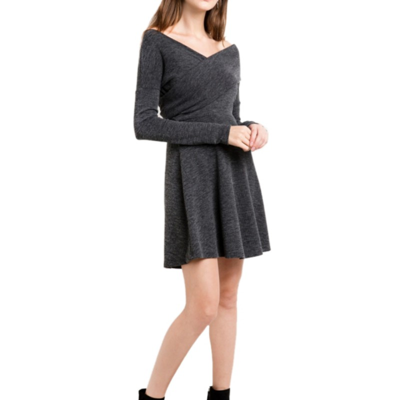 Women's Fashion Long Sleeve Knitted Sweater Pullover Swing Solid Slim Fit Wrap Midi Dress long sleeves layered swing sweater dress