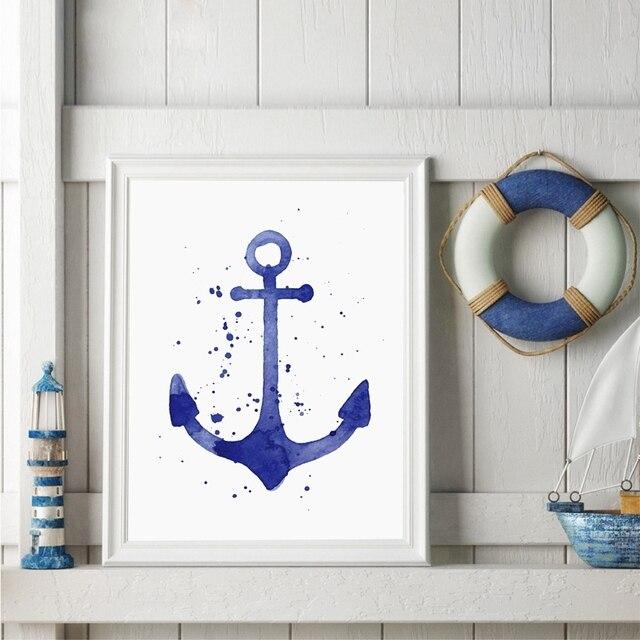 Aquarell Anker Und Lenkrad Kunstdruck Bilder, Nordischen Stil Leinwand  Kunst Malerei Bad Ozean Dekoration