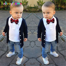 3Piece/2-7Years/Spring Autumn Baby Boys Clothes Toddler Casua Suit Knit Coat Cardigan+T-shirt+Jeans Children Clothing Set BC1161