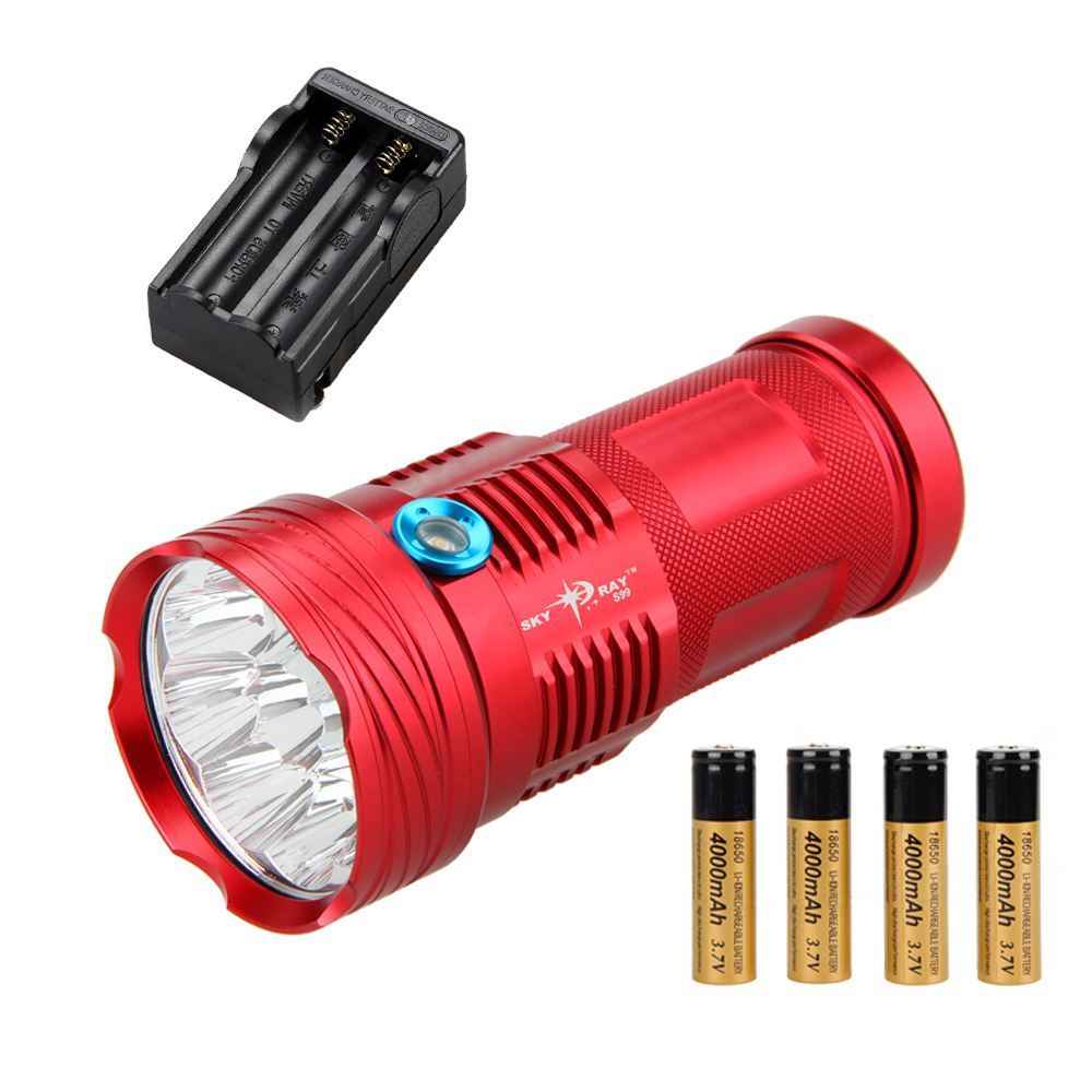 18000LM SKYRAY 9 x XM-L T6 LED Torch Lamp Hunting Flashlight Light+4x 18650 Battery +Charger фонарик skyray 14 x t6 led 500 sy146