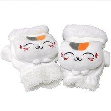 Natsume's Book of Friends White cat teacher Warm plush half finger gloves anime accessory hippo and friends starter teacher s book
