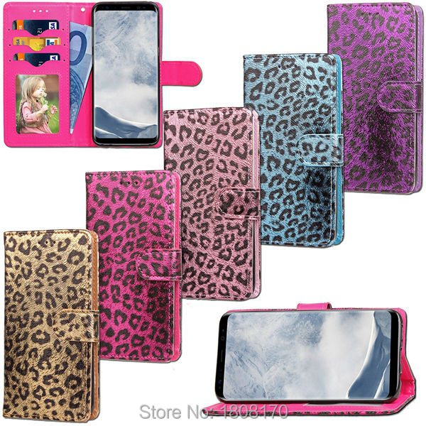 Leopard Wallet Leather Case For Samsung Galaxy S8 Iphone 7 Plus 6 6S Iphone7 Photo Frame Card Stand Pouch TPU Phone Cover 1pcs
