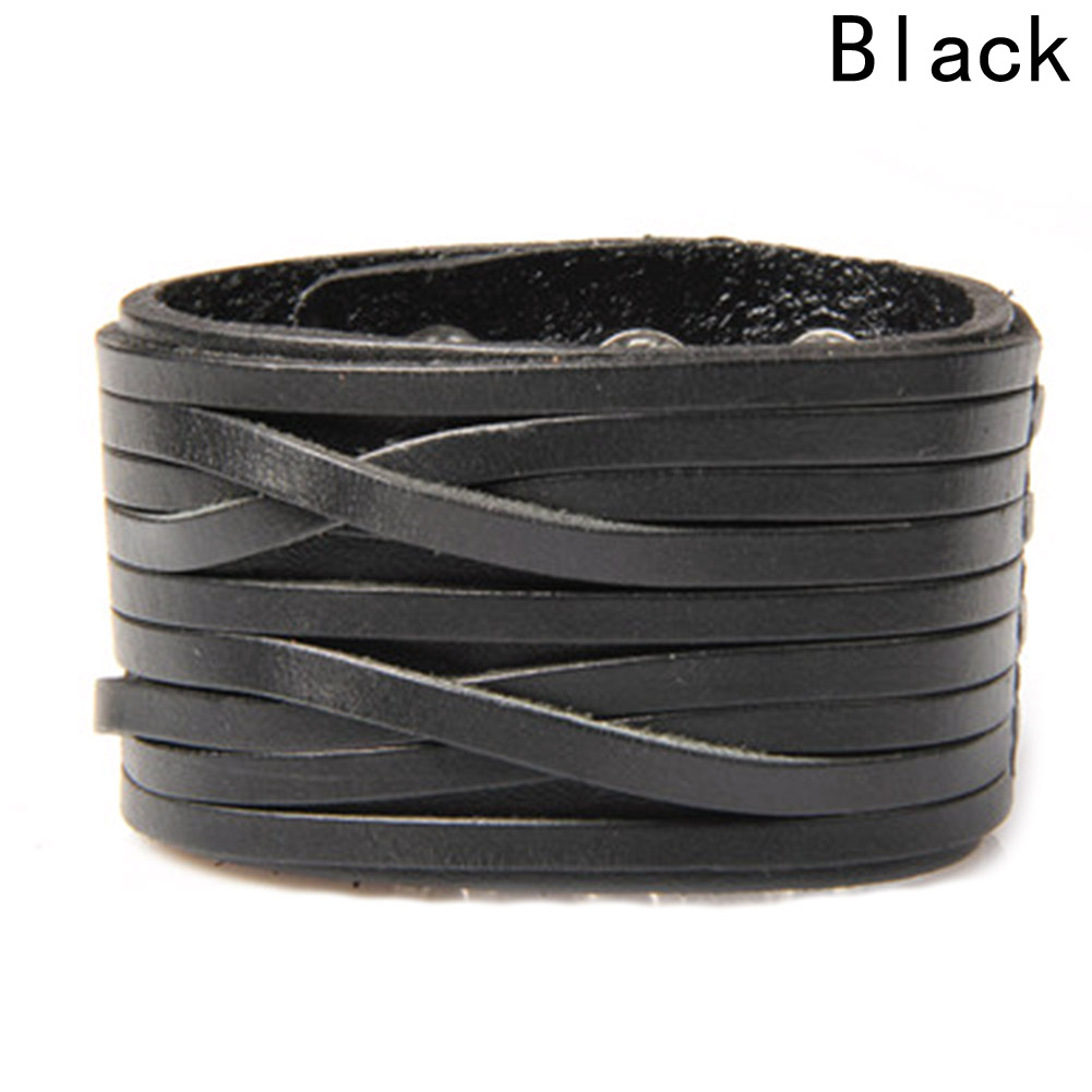 2018 New Fashion Style Hot Sale High Quality Double Row Braided Genuine Wide Cuffs Bracelet For Men Gifts Leather 2 Colors