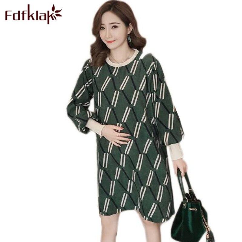 Fdfklak M-3XL Large Size Pregnancy-Clothes Spring Summer Nursing Dress Maternity Dress For Pregnant Women Pregnant Dress F52