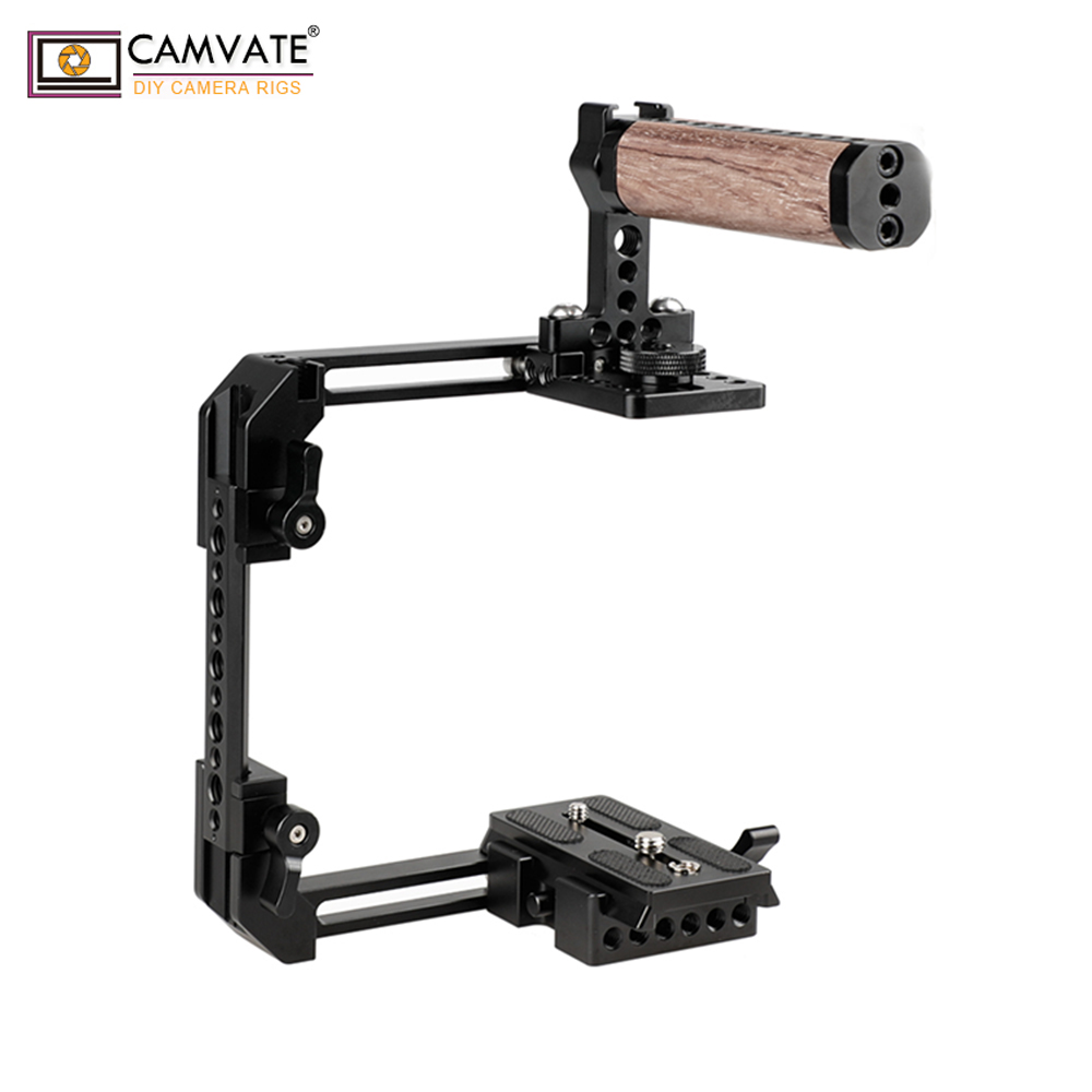 CAMVATE Extendable Standard Cage Kit For DSLR Cameras With QR Manfrotto Baseplate C1908 camera photography accessories