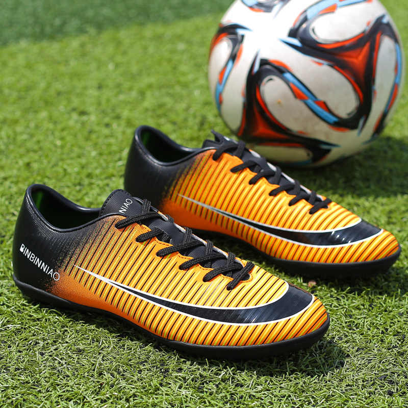 941d5b5c0 ... ZHENZU Turf Indoor Black Red Men Soccer Shoes Kids Cleats Training  Football Boots Sport Sneakers Size