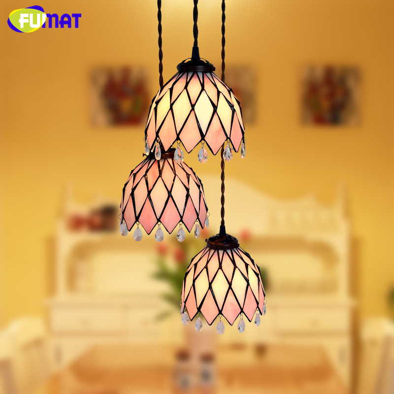 FUMAT Stained Glass Penant Lights Glass Art shade lampe For Living Room Kitchen Dining Room LED Warm Pastoral Pendant Lights