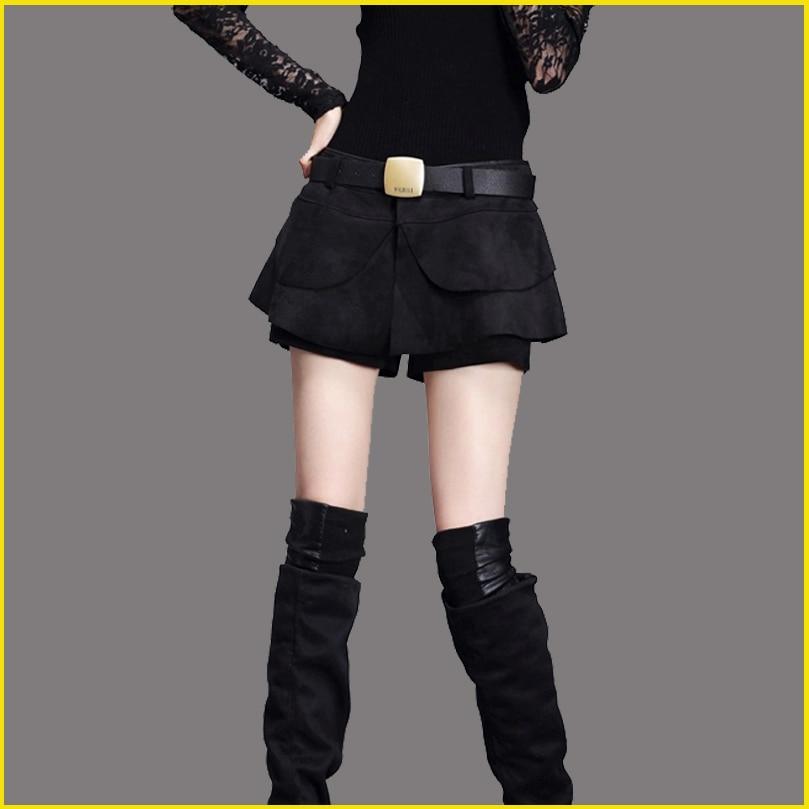 2018 New Wild Cashmere Leather Shorts Female Shorts Winter  Slim  Wide Leg Shorts Skirt