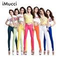 IMucci Plus Size Mulheres calças de Brim Ladys Doces Cores Calças Lápis Primavera Outono Sexy do Ajuste Magro Elasticidade Calças Jeans Casuais