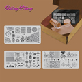 Новый Маникюр Ногтей Stamp Плиты Изображения Шаблона Ногтей Штамповки Плиты Скребок Стампер Набор Негативное Пространство Оставляет Цветы Животных